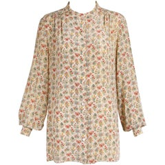 1970s Gucci Accornero Floral Print Silk Tunic Style Blouse