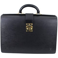 "Vintage 1998 Louis Vuitton ""Fermoir"" Briefcase in Black Epi Leather"