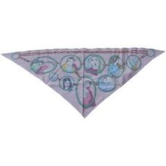 Hermes Silk Scarf Les Parisiens Pointu Triangle Pink Bali Barret Pointed