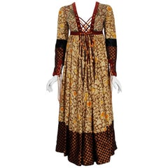 1970 Bill Gibbs Iconic Bohemian Floral Silk and Suede Fringe Lace-Up Gypsy Dress