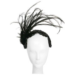 1950s Black Sequin Headband with Feathers