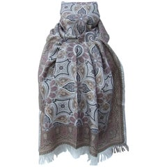 Hermes Long Scarf Stole Pashmina Cashmere Silk Indian Pattern Shades of Beige