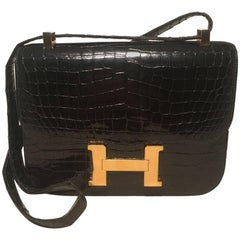 Hermes Black Crocodile Constance Shoulder Bag