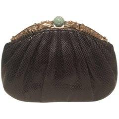 Judith Leiber Black Lizard Dragon Crystal Jade Top Clutch