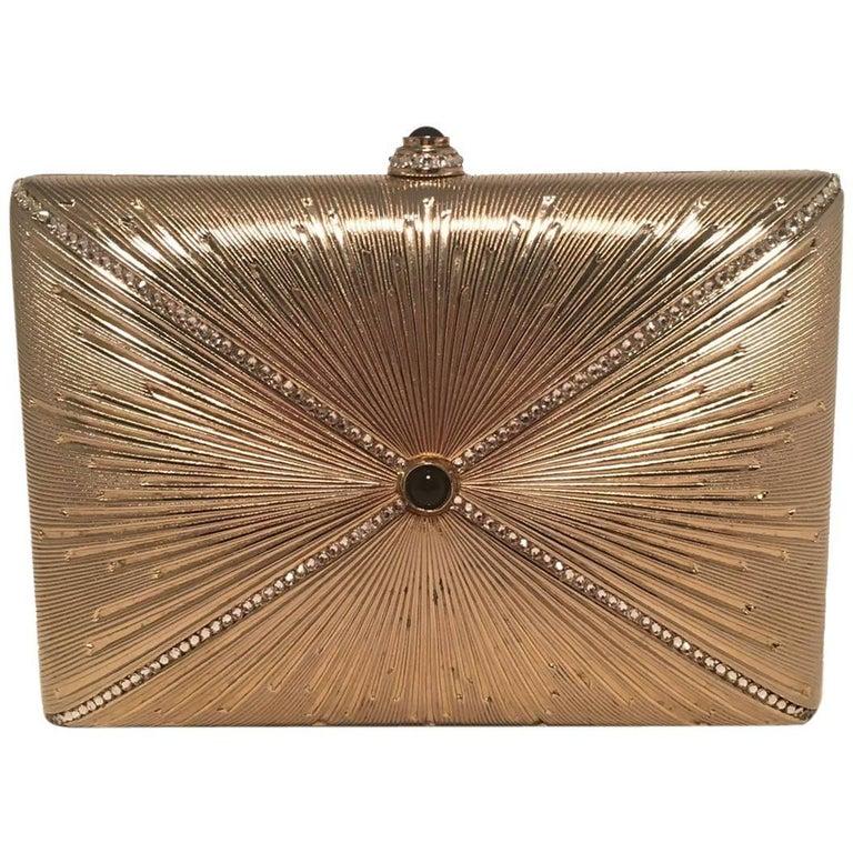 Judith Leiber Vintage Gold Starburst Box Minaudiere Clutch