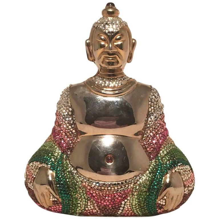 Judith Leiber Swarovski Crystal Gold Buddha Minaudiere
