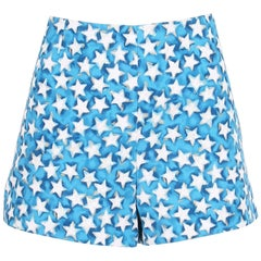 Valentino Blue White and Gold Star Print Shorts