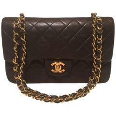 Chanel Black Brown 9 inch 2.55 Double Flap Classic Shoulder Bag