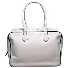 Hermes Black and White Veau Grain Leather Plume Tote Handbag