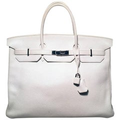 Hermes White Togo Leather 40cm Birkin Bag