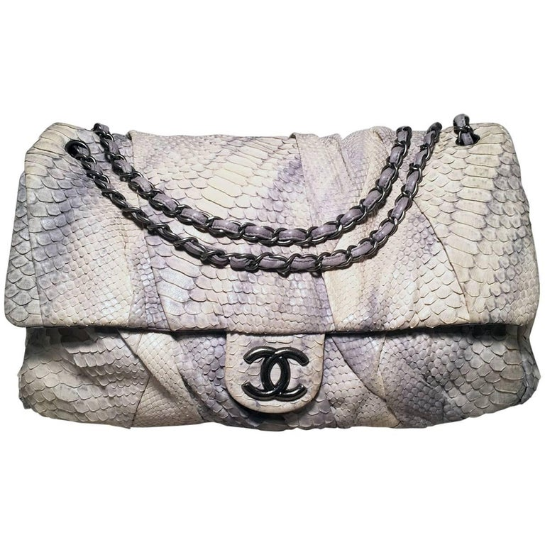 f2340fa01dd0 Chanel Rare Natural Snakeskin Python XL Classic Flap Shoulder Bag For Sale
