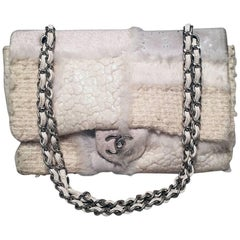 Chanel White Wool and Fur Patchwork Classic Flap Shoulder Bag