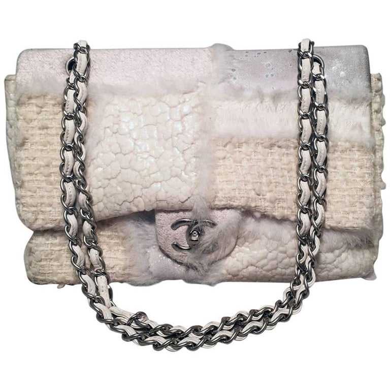 3e38b8b7905a Chanel White Wool and Fur Patchwork Classic Flap Shoulder Bag For Sale