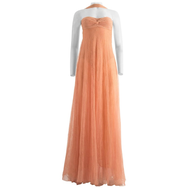 Gianni Versace Autumn-Winter 2000 peach net lace evening dress