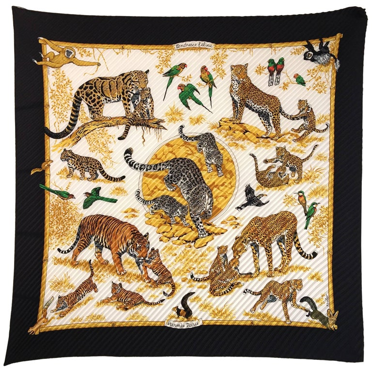 Hermes Accordion Tiger Print Scarf For Sale