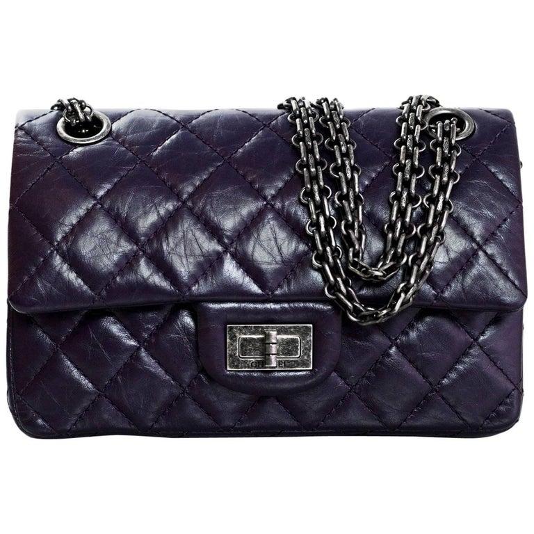 Chanel Dark Purple Quilted Calfskin 244 Reissue 2 55