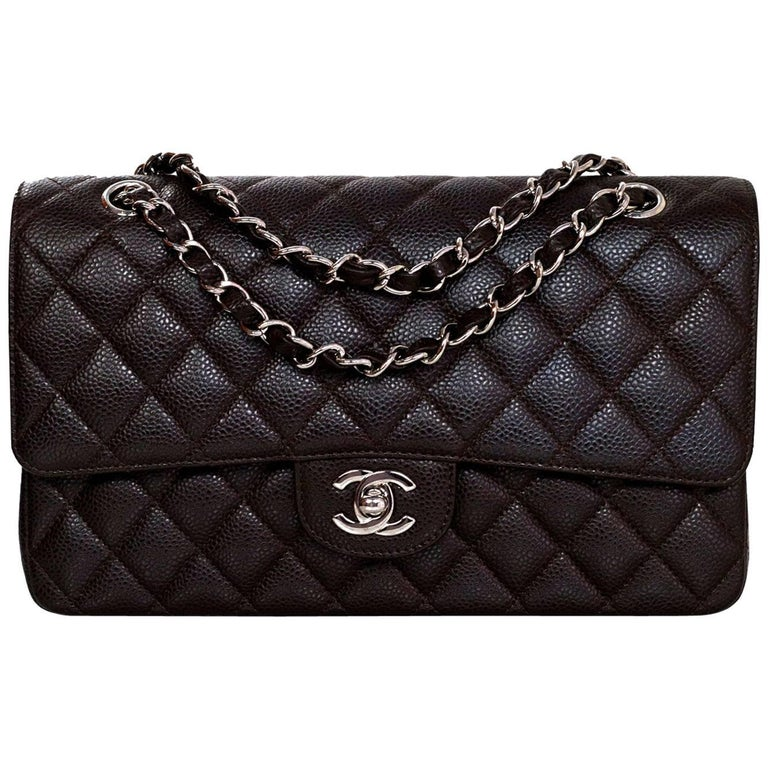 "Chanel Brown Caviar Leather Quilted 10"" Medium Double Flap Classic Bag rt.$5,300"