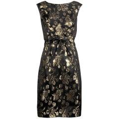 1960s Vintage Metallic Gold + Black Satin Cocktail Sheath Dress