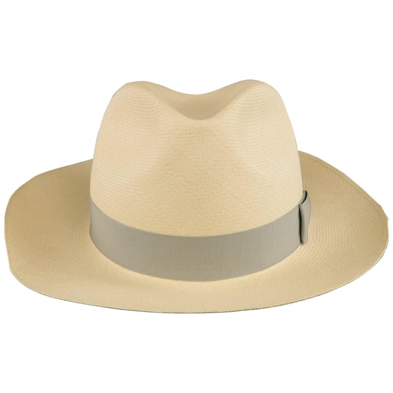 GRAHAM THOMPSON Size 7 3/8 Beige Gray Ribbon Straw Panama Hat For Sale