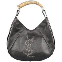 YVES SAINT LAURENT Black YSL Studded Leather Horn Mombasa Bag