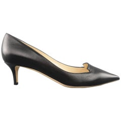 JIMMY CHOO Size 6.5 Black Leather Allure Kitten Heel Pumps