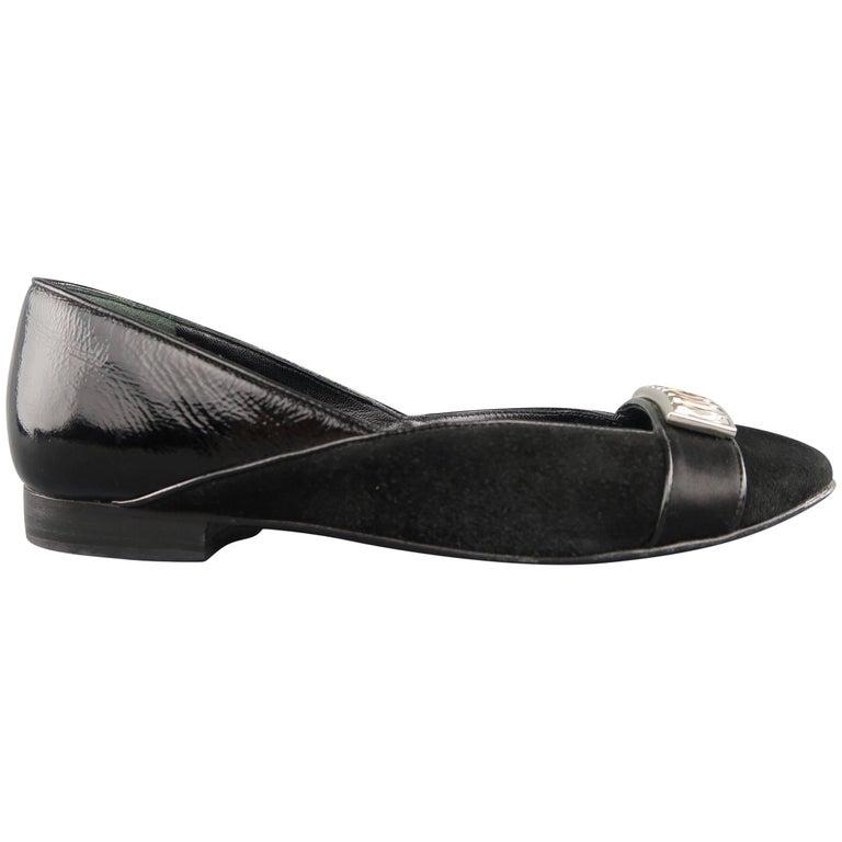 JUDITH LEIBER Size 5 Black Suede & Patent Leather Rhinestone Flats