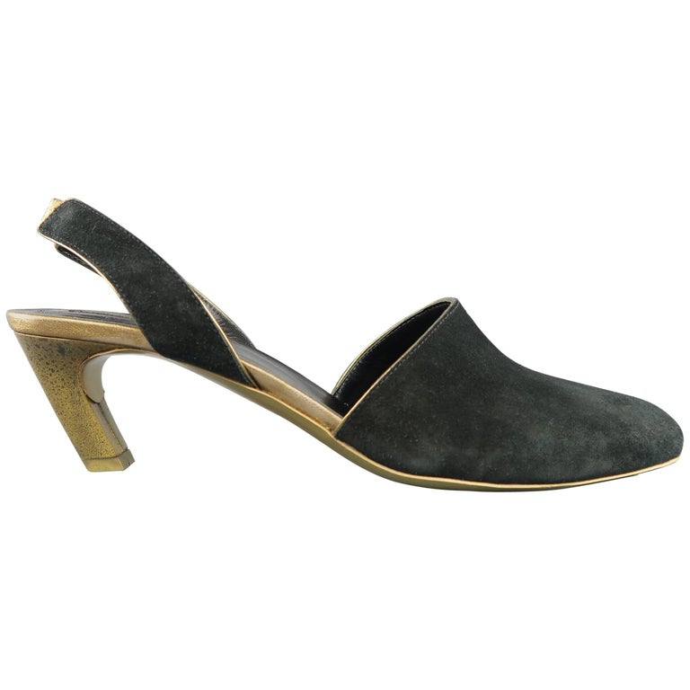 6f1a3fd990 DRIES VAN NOTEN Size 9 Black and Gold Suede Slingback Pumps at 1stdibs