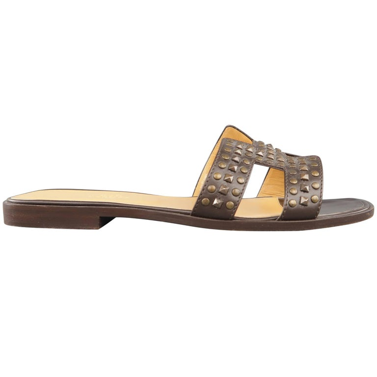 HERMES Size 10 Brown Studded Leather ORAN H Flat Strap Sandals 1