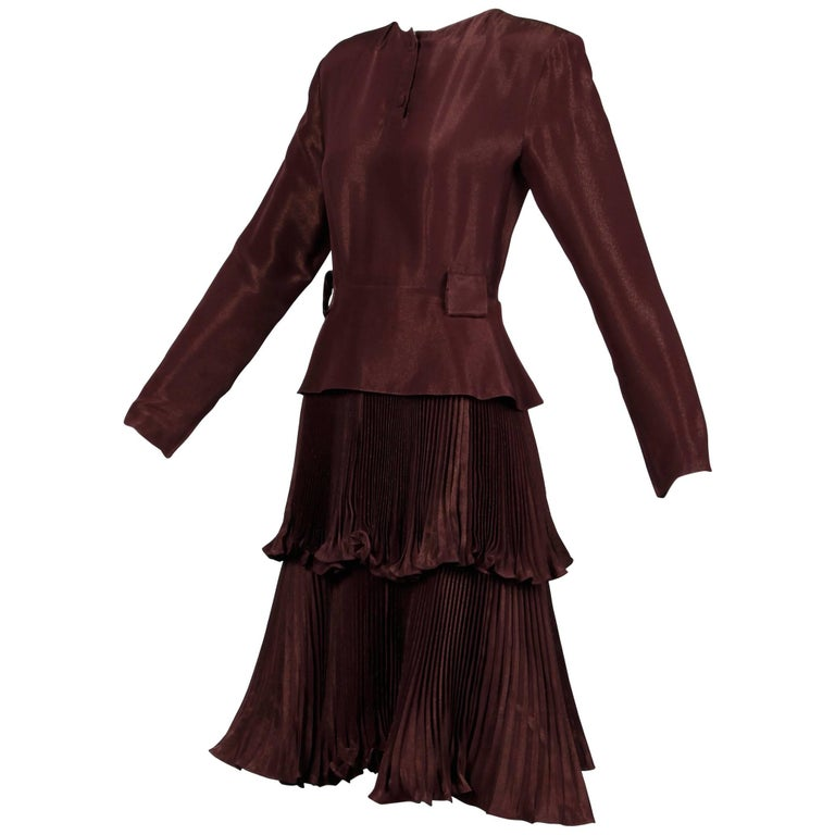 1980s Bernard Perris Vintage Brown Copper Metallic Pleated Dress For Sale