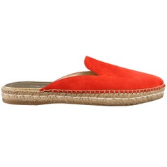 PRADA Size 10 Red Suede Pointed Espadrille Mule Flats