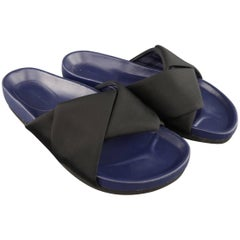 CELINE Size 7 Black Faile & Navy Leather Knot Slide Sandals