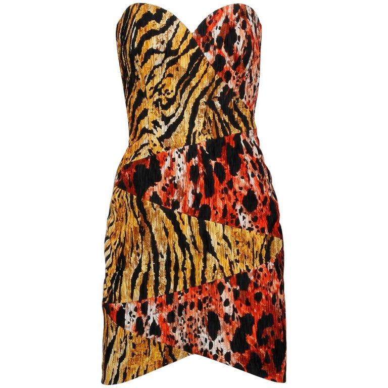 1980s Mila Schon Vintage Strapless Animal Print Sexy Mini Dress