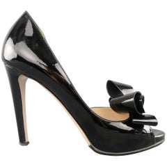 VALENTINO Size 8 Black Patent Leather Bow D'Orsay Platform Pumps