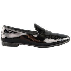 GUCCI Size 6.5 Black Patent Leather Tuxedo Loafers