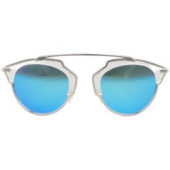 CHRISTIAN DIOR White & Silver Blue Lense SO REAL Sunglasses