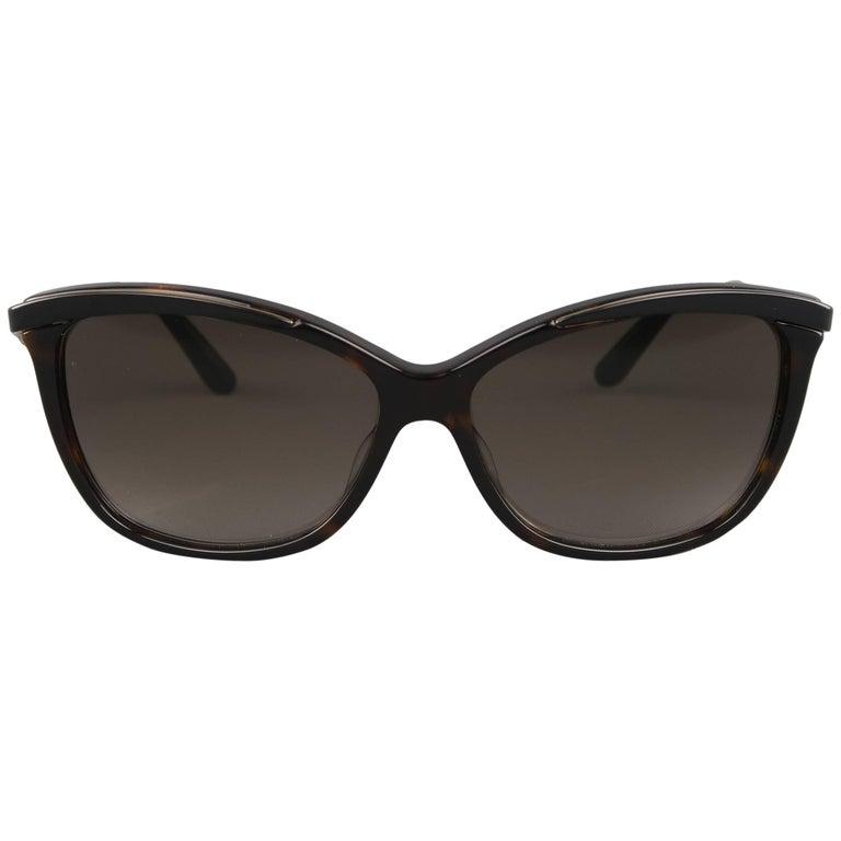 CHRISTIAN DIOR Tortoiseshell and Black Metal Metal Eyes Sunglasses
