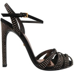 GUCCI Size 7 Black Rose Gold Studded Suede Strappy Sandals