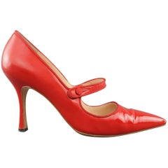 MANOLO BLAHNIK Size 9 Red Pointed Mary Jane Campari Pumps