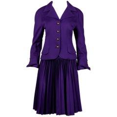 1990s Christian Lacroix Vintage Pret-a-Porter Wool Jacket + Skirt Suit Ensemble