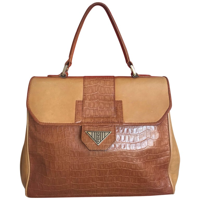 Fendi Vintage Genuine Brown Leather Kelly Handbag with Croc-Embossed Leather.