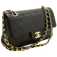 Chanel Small Double Flap Chain Shoulder Bag Black Quilted Lambskin