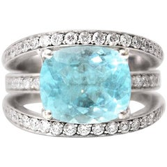 White Gold Paraiba Tourmaline and Diamonds Ring