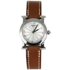"2010s Hermès ""Heure H"" H Ronde PM Leather Watch"