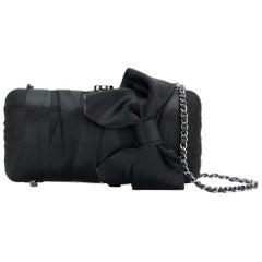 Chanel Silk Black Bow Clutch Bag