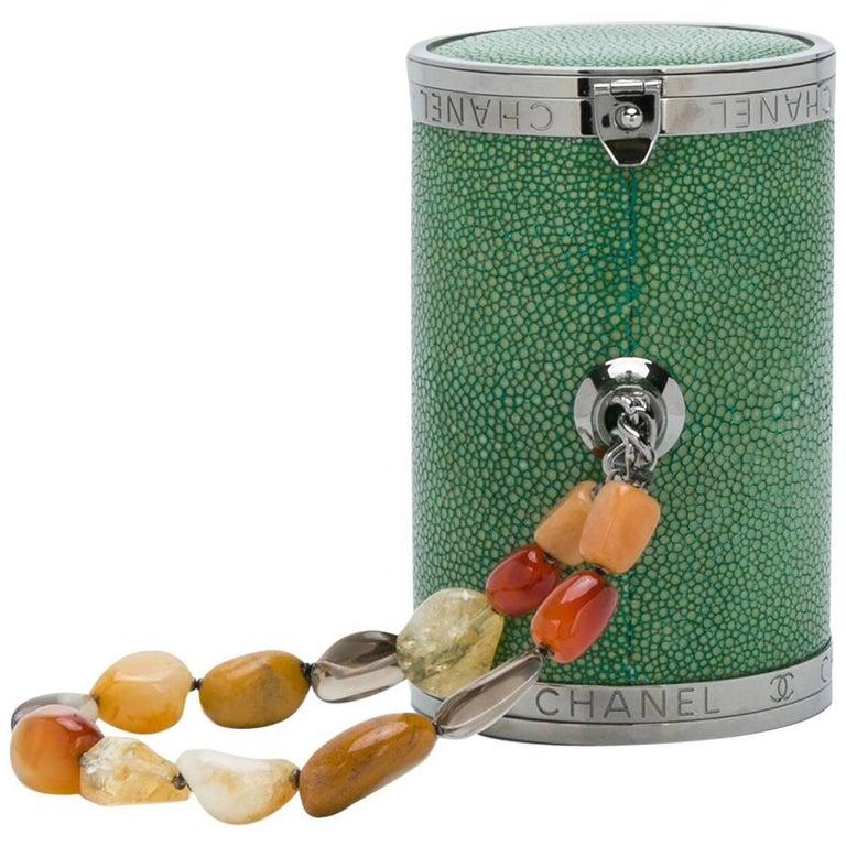 Chanel Stingray Green Barrel Clutch Bag  For Sale