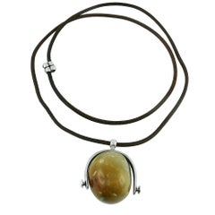 Hermes Vintage Hard Stone Pebble and Solid Silver Stirrup Pendant Necklace
