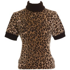 Dolce & Gabbana Leopard Print Turtle Neck Cashmere Sweater Pullover