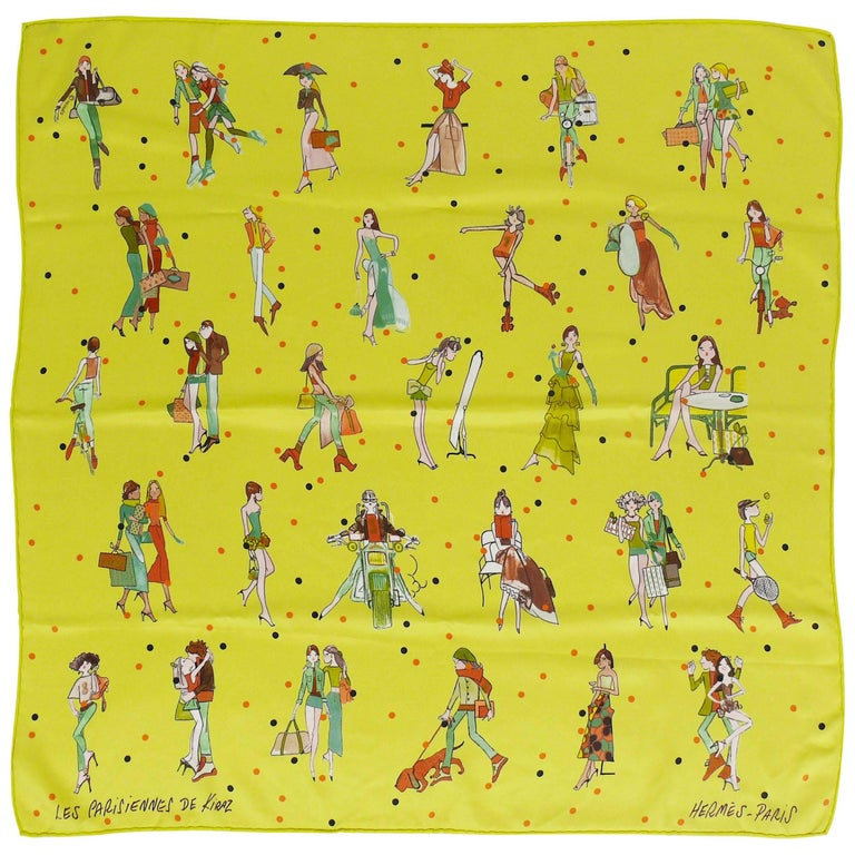 "Hermes Silk Scarf ""Les Parisiennes"" by Kiraz For Sale"