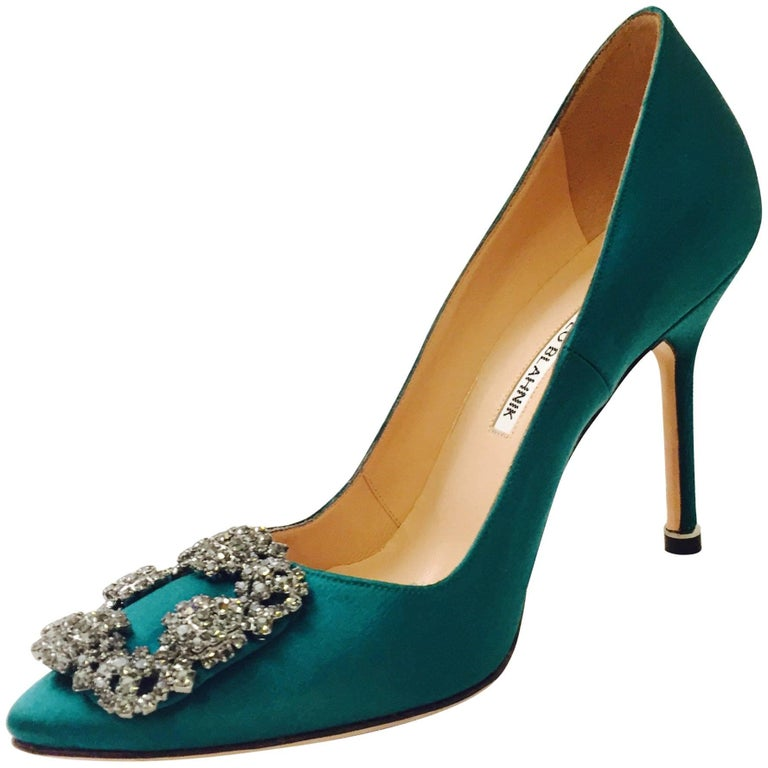 a423716a0ac Magnificent Manolo Blahnik Hangisi Emerald Green Satin Heels For Sale
