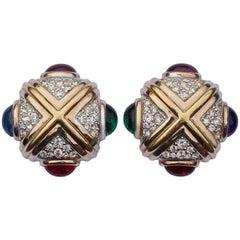 Panetta Faux Sapphire Emerald Ruby Amethyst Rhinestone Earrings, 1980s